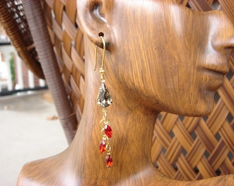 fancy garnet and black diamond earrings
