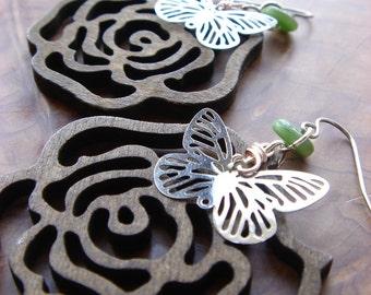 roses and butterflies earrings