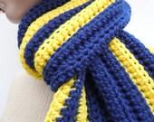 Scarf- Dark Blue and Gold Yellow - Team Spirit Colors - Men, Women, Children - Crochet