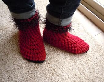 Slipper Boots - Dark Red Slipper Boots - Women size 5/6 - Crochet Slippers