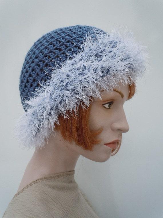 Blue Gray with White Fur - Skull Cap -Beanie - Crocheted hat