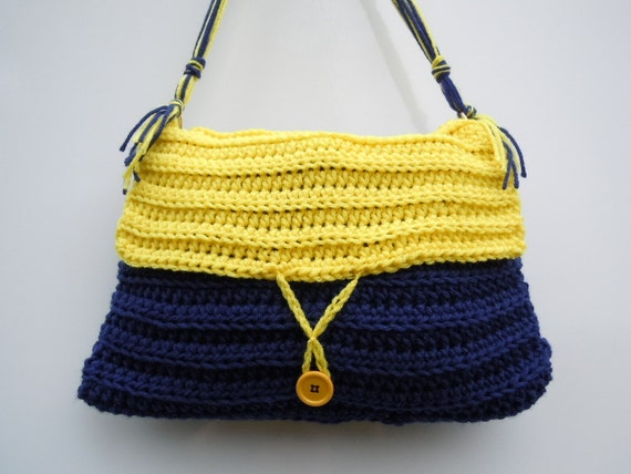 Blue and Gold/Yellow Medium Size Purse - Fully Lined - Crochet  Purse