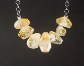dappled sunshine // rough cut citrine and sterling silver necklace // november birthstone // gifts under 50