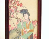 Vintage picture with frame, Japanese woman, cherry blossom tree