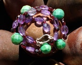 Faceted Turquoise, Garnet and Veracruz Amethyst Necklace