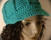 MONICA Turquoise Lined Beanie with Brim