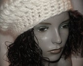 DARIA Beret in White Mohair with Sequins - GREAT Price - BEAUTIFUL Hat