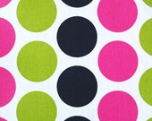 Decorative Designer Fabric-Candy Pink, Black, and Chartreuse Green Polka Dot-1 yard