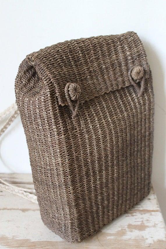 Wicker Basket Backpack : Brown woven wicker basket backpack