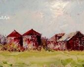 Award Winning CRIMSON FARM Original Palette Knife Oil Barn Painting Framed