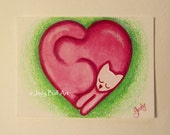 Love Cat - ACEO Original Watercolor Painting Illustration