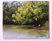 Original Palette Knife Landscape 8 x 10 Oil Painting - AN AFTERNOON AWAY