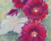HOLY HOLLYHOCKS  Original Pastel Painting