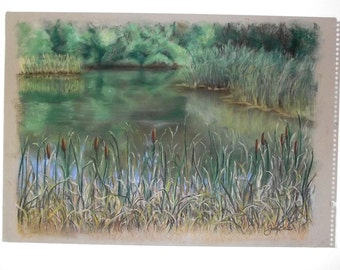 Original Pastel Painting - Cat Tail Pond - Frameable Art