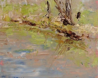 Framed Original Oil Painting Plein Air Palette Knife - River Reflection  5 x 5