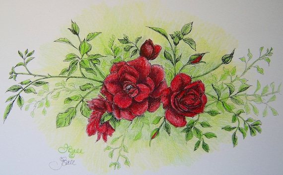 ROSES IN RED - Hand Colored Botanical Print 11 x 14