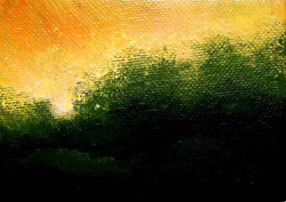 Original Miniature DAYBREAK Landscape Painting  Framed