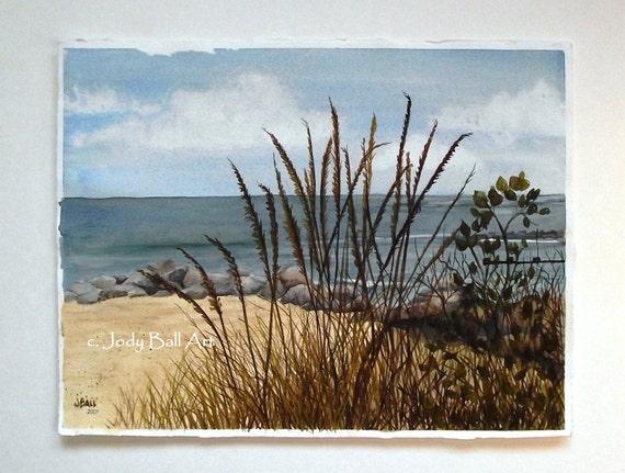 Rock Beach Original Seascape Watercolor Painting