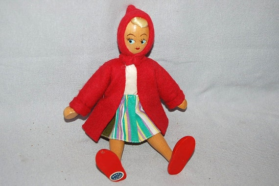Vintage Red Riding Hood Doll Googly Eyes Jointed Wood Poland