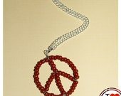 Beaded peace sign necklace - terracotta