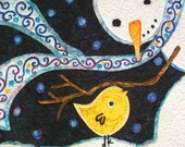 Snowman and Bird quilted wall hanging