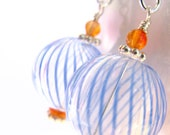 Into the Blue - Hand blown glass globes and Carnelian Earrings