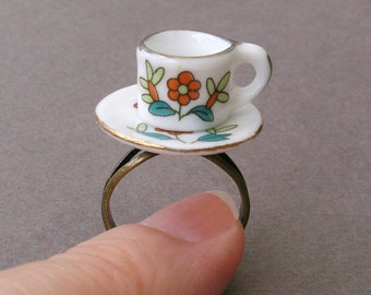 Tiny Teacup Ring, Red Flowers, Real China Tea Cup and Saucer, Alice in Wonderland
