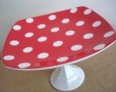 Cake Stand / Cupcake Stand / Dessert Pedestal-Red Dottie-As Featured in BRIDES Magazine