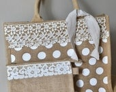 Jute Tote with Vintage Lace Trim and Polka Dots-on sale