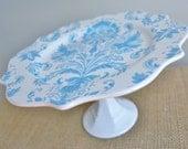 Wedding Gift / Cupcake Stand / Dessert Pedestal-Blue Paisley-As seen in BRIDES magazine