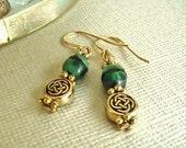 Green & Gold Celtic Knot Earrings