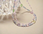 Yellow Pink Lavender Green Pastel Crystal Necklace