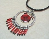 Red Black & Silver Beaded Pendant Necklace