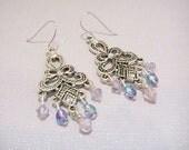 Pink & Lavender Crystal Chandelier Earrings