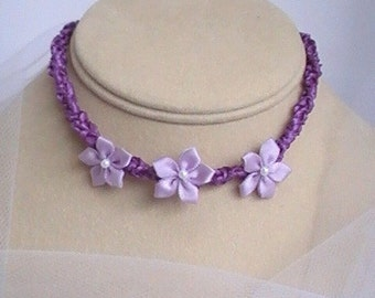 Child's Flower Girl Necklace - Purple Satin Ribbon