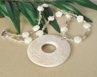 Creamy Carved Shell Pendant Necklace