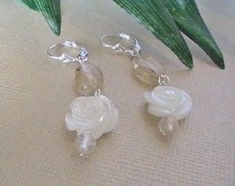 Creamy White Carved Dangle Earrings