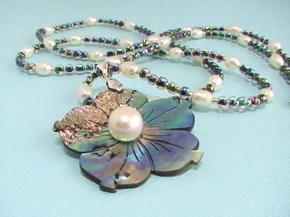 Abalone Pendant & Pearl Necklace