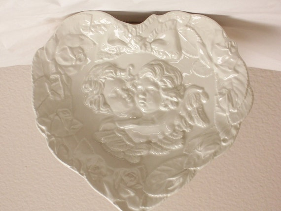 Angel Heart Shaped Decorative Plate Wall Hanging Made in Italy