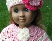 A set of 2pc hand crocheted doll clothes poncho and hat in Sage, off white, watermelon for American girl and Gotz