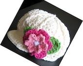 3 - 6 months crocheted baby cap/newboy/newsgirl/hat beanie in Sof Ecru, hot pink, hot green, white, rose pink and white