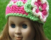 Crocheted doll hat beanie for American Girl, Gotz, My twin or similar 18 inches dolls