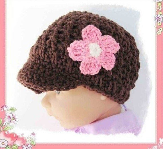3 - 6 months Crocheted baby visor beanie cap with a flower in Chocolate -- 3 - 6 months