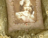 Vintage Lace Blush Silk Vintage Image Lil Girl and Doll Hanging Pillow