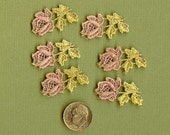 Hand Dyed Venise Lace Tiny Rose Appliques Vintage Shabby Sweetness Set 6