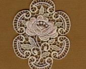 Hand Dyed Venise Lace  Rose Medallion Applique Vintage Lavender Creme