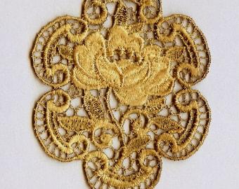 Hand Dyed Venise Lace  Rose Medallion Applique Vintage Mocha Patina