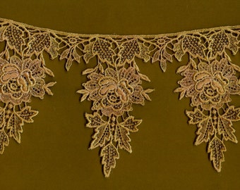 Hand Dyed Venise Lace Christmas Rose  Vintage Light  Mocha Blush