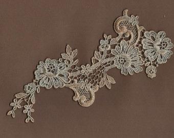 Hand Dyed Floral Venise Lace Applique  Antique Mocha Blue