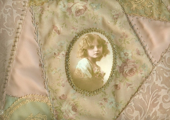 Sweet French Girl Vintage Lace Crazy Quilt Collage Wall Hanging